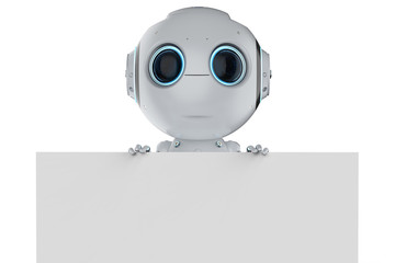 mini robot with empty note