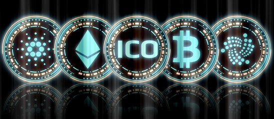 Collection of glowing blue gold multiple crypto currency coin set and ICO at middle with reflection on background. For use as logo, banner, printing with dark theme