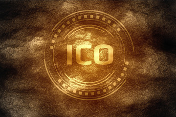 Crypto currency mining concept. Initial Coin Offering (ICO) found underneath hard rock soil and shining its gold flare color as a high value treasure.
