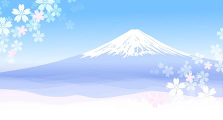 富士山と春の風景  Fototapete