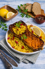 Baked Butternut squash with spicy rice