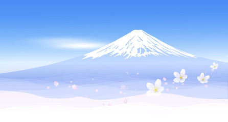Wall Mural - 富士山と春の風景