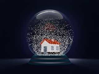 Christmas globe - a symbol of the approaching Christmas and New Year. A transparent ball with a house inside and floating snowflakes. Soft inner glow. 3d render. 3d illustration