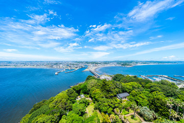 enoshima island and urban skyline view in kamakura