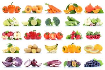 Wall Mural - Früchte Obst und Gemüse Sammlung Apfel Weintrauben Orange Bananen Erdbeeren Farben frische Freisteller freigestellt isoliert