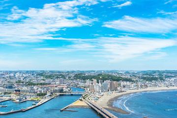 enoshima island and urban skyline view in kamakura