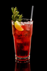 Delicious refreshing cocktail on a black background