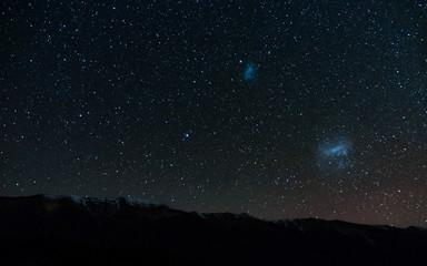 Amazing Starry night at Lake Rotoiti. Milky way and the galaxy. Nelson Lake National Park, New Zealand.
