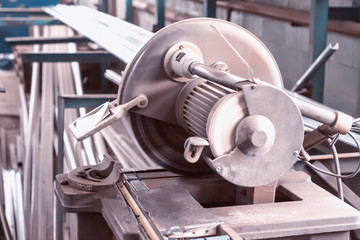 Circular cutting saw for profile and metal, close-up, saw