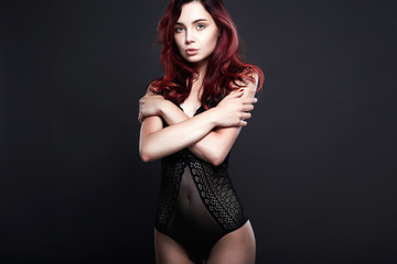 beautiful girl in lingerie. healthy color hair