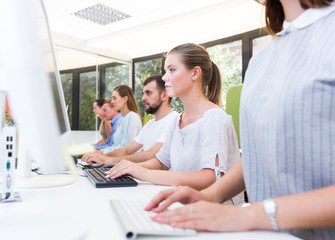Side view of successful business people working at computers