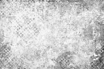 Grunge background black and white. Abstract grey texture of old surface in scuffs and cracks