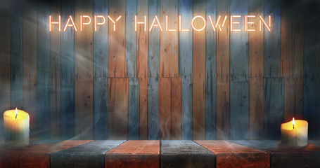 Misty Happy Halloween room. Night wooden table and wall background with neon caption.
