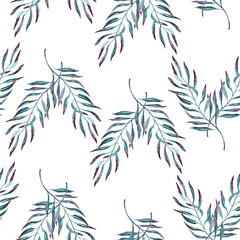 Trendy illustration with pattern tropic watercolour. Exotic hand painted leaves seamless pattern. Tropical background pattern for your design.