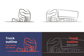 European Truck outlined isolated silhouette. Vector. Text outlined.