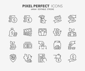 money thin line icons 3