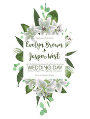 Wedding floral invitation, invite card. Vector watercolor style herbs, eucalyptus, white delicate lilly, waxflower natural, botanical green decorative square frame, geometric