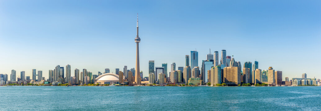 Panoramic skyline view at the Toronto city in Canada