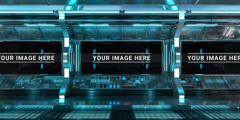 Blue spaceship interior control panel station 3D rendering