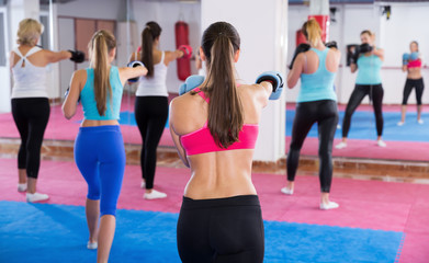 Group of female are boxing in sporty gym