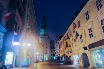 Night view of Michael Gate with a tower in  Bratislava, Slovakia