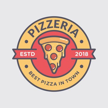 Pizza logo for fast food restaurant, simple flat style
