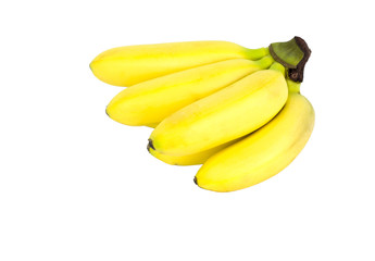 yellow ripe mini bananas isolated on white background. object, fruit