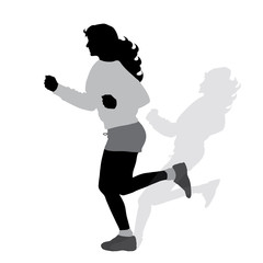 Vector silhouette of woman who running on white background.