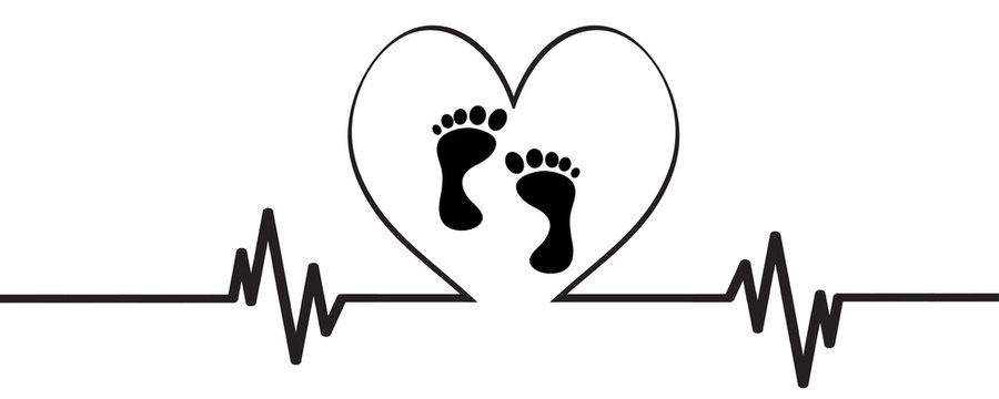 Vector illustration of heart pulse with heart and baby´s feet on a white background.