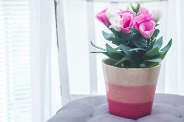 Fototapeta różowe kwiatki eustoma obraz