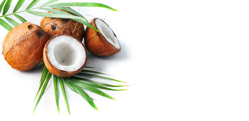 Coconut with coconuts palm tree leaf isolated on a white background. Fresh coco nut. Healthy food, skin care concept. Vegan food