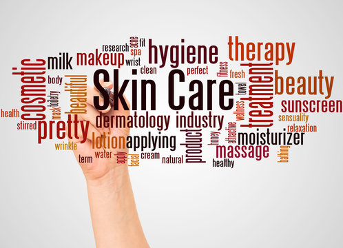 Skin care word cloud and hand with marker concept