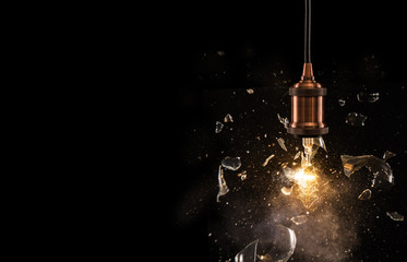 Real explosion of vintage electric bulb.