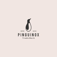 penguin logo retro vintage hipster vector icon illustration