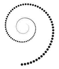 Black spiral made of increasing dots. Points from the center of the spiral getting bigger and forming a spiral. Black isolated illustration on white background. Vector.