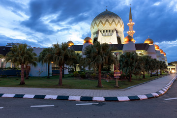 Sabah State Mosque Islamic Muslim religious dome building at dawn.