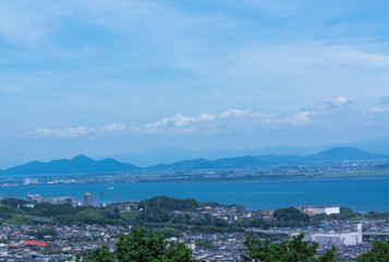 Aerial view of Lake Biwa and cityscape with summer color, Japan