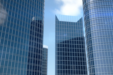 3D Illustration blue skyscrapers from a low angle view. Architecture glass high buildings. Blue skyscrapers in a finance district