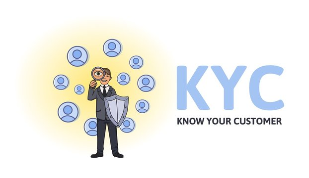 KYC, Know Your Customer concept. Businessman with a shield looking at the partners-to-be through a magnifying glass. Colored flat vector illustration on white background.