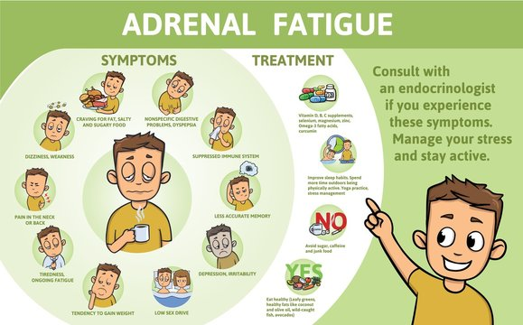 Adrenal Fatigue symptoms and treatment. Infographic poster with text and character. Flat vector illustration, horizontal.
