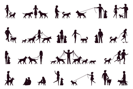 A set of characters walk with a dog. Silhouette. Vector illustration in simple style on white isolated background