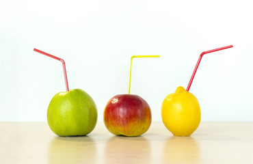 colorful fruits, fresh apples, green and red Apple, yellow lemon with tubules