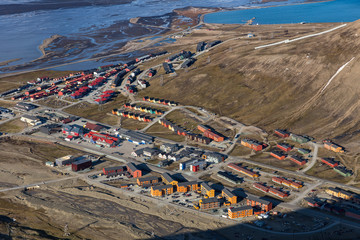 Colorful buildings of arctic town Longyearbyen