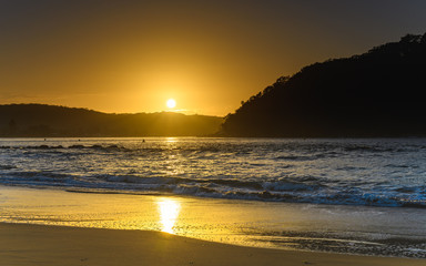 Shimmering Sunrise Seascape with Sun