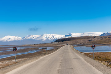 Narow road from Longyearbyen to a husky farm