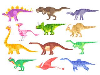 Set of dinosaurs isolated on white background. Flat design. Vector dino illustration