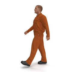 Walking Builder Wearing Orange Long Sleeve Coveralls. 3D illustration, isolated