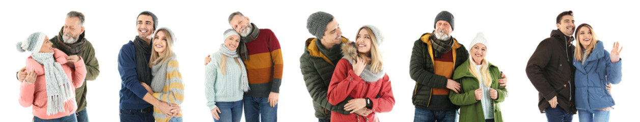 Set with couples in warm clothes on white background. Ready for winter vacation