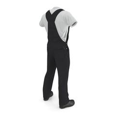 Mens Work Wear Black Uniform On White Background