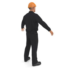 Worker In Black Uniform with Hardhat Standing Pose